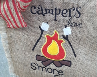 Camping Flag, RV Life Flag, Burlap Garden Flag, S'more Fun Flag, Campfire Flag, Campsite Flag, Flag for Camper, Hostess Gift, Campers Flag