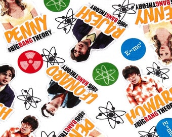 """Big Bang Theory Fabric, Big Bang Theory Cast, Woven Cotton, White Background, Quilting Cotton, 44"""" Wide - 3/4 Yard"""