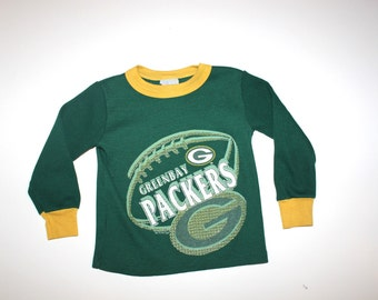 Vintage GREENBAY PACKERS Thermal Shirt - Retro Little Boy - Football