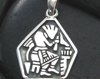 Solid Carved Southwestern Style Pendant Medallion in Sterling Silver .925 - Great Detail - Working Artisan - Oxidized Finish