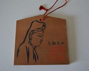 Japanese ema, hand painted  or screen printed wood #42