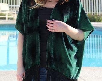 Green Velvet Burnout Kimono with Fringe, Stunning Boho Velvet Kimono, Free Size Velvet Kimono