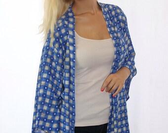 Blue Checkered Kimono, Sporty Duster Kimono, Handmade Boho Duster