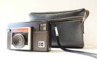 Vintage Kodak Camera, Camera Bag, Kodak Instamatic X-15F Camera, Black Faux Leather Camera Bag, 126 Film, Retro Camera, Photographer Gift