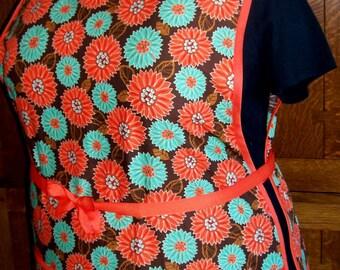 Plus Size Cobbler Apron - Orange and Aqua Flowers - Size 3XL to 5XL