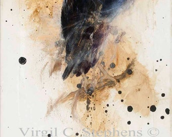Raven art, Perched And Poised, print of a Pine Raven sitting on a branch, black bird, crows, birds, North Amer. Wildlife, Pine Raven art