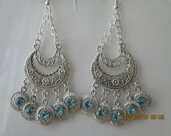 Silver Tone Chain Chandelier Earrings with  Blue and Silver Crystal Dangle