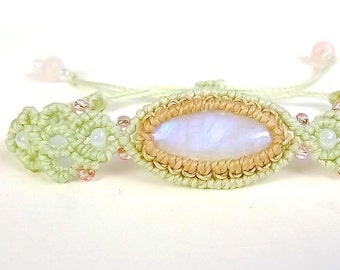 Macrame Bracelet, Rainbow Moonstone Bracelet, Sage and Tan with rose Quartz, Pastel Macrame