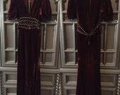 30s Silk Studded Velvet Party Dress