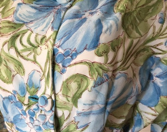 50s 60s Morning Glory Print Rayon Dressing Robe