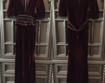 30s Silk Studded Velvet Party Dress