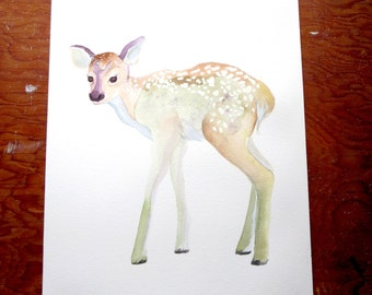 Original Watercolor Painting, Fawn No.2