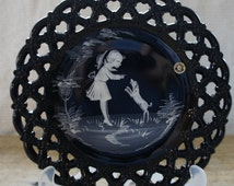 Mary Gregory Black Glass Plate