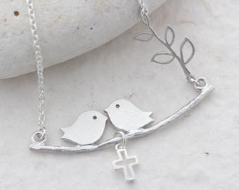 Silver Lovebirds Necklace, Family Birds Necklace, Choose Cross Baby bird or Heart. Birds Necklace, Birds on Branch Necklace . Birds Jewelry.