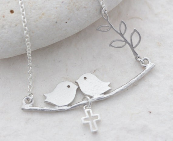 Silver Lovebirds Necklace, Family Birds Necklace, Choose Cross Baby bird or Heart. Birds Necklace, Birds on Branch Necklace . Birds Jewelry.