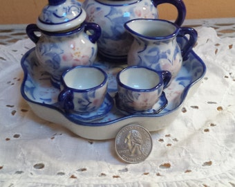 Vintage Mini Tea Set,  10 Pc., Blue , White and Pink, Scalloped Serving Tray