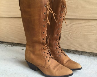 Gorgeous Vintage Brown Suede Leather Lace Up Knee High Boots // Women's size 6 6.5