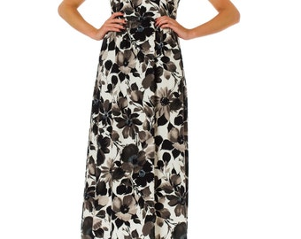 1950s Floral Printed Empire Waist Short Sleeve Maxi Dress SIZE: S, 4