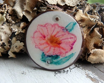 Pink Petunia- art resin pendant. pink morning glory painting. pink flower bead. coconut connector bead. nature inspired. Jettabugjewelry