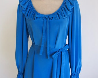 70s blue tea length long sleeve dress with ruffle collar, waist tie and cinched cuffs