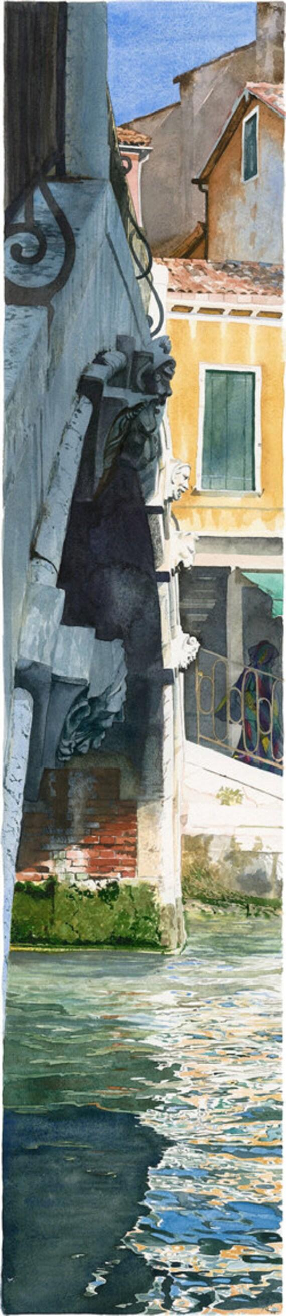 Venetian bridge with stone heads - Watercolour Giclée print
