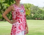 Plus Size Tunic - Womens Clothing - Cotton Tunic Top - Plus Size Top - Hawaiian Shirt - Wearable Art - Kauai Hawaii Hand Painted TShirt