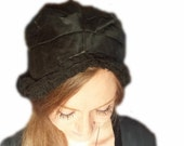RESERVE for Lisa 1920s Gothic Flapper Cloche Black Lace Wedding Veil Trim Millinery Fashion Satin Hat Costume Mourning 20s Gatsby Fascinator