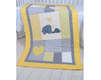 Elephant  Crib Quilt, Gray Yellow Baby Bedding, Chevron Quilting, Baby Boy Patchwork Blanket