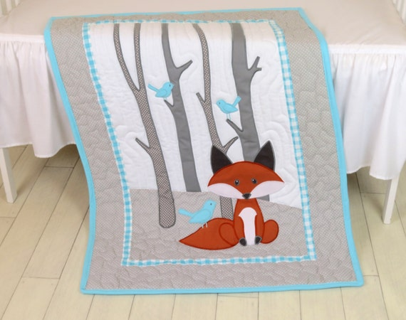 Fox Blanket, Animal Nursery Quilt, Baby Boy Quilt, Boy Crib Bedding, Forest Blanket, Aqua Gray Blanket, Custom Made