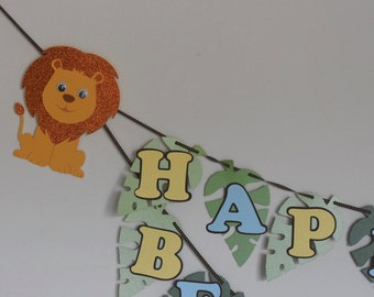 Lion Happy Birthday Banner, Name Banner