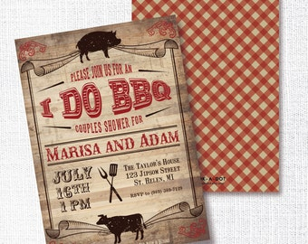 I DO BBQ barbecue barbeque couples wedding shower invitation co-ed shower wedding invitation rustic wood barn wedding pig and cow