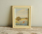Tiny Vintage Painting Girl Picking Flowers SIGNED