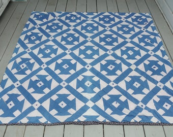 Antique Blue White Quilt Handmade TATTERED