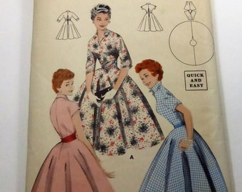 Vintage Butterick Pattern 7346 Circle Skirted Dress Misses Size 14
