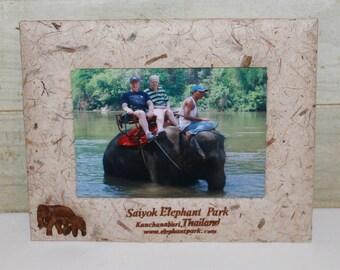 Elephants - Thailand Saiyok Elephant Park Picture Frame - Vintage - Handmade Paper - Asian - Souvenior - Home Decor - Travel - Kanchanaburi