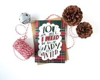 Romantic Christmas Card - Christmas Love Card - Long Distance Relationships - Winter Card - I Love You - Cozy Flannel - Love Greeting Card