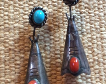Handmade Native American Vintage Articulating Sterling Silver Turquoise & Coral Earrings