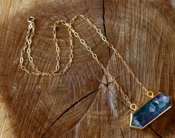 Fluorite double point pendant with gold fill chain