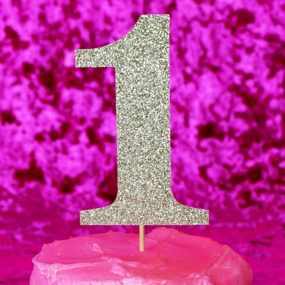 Number 1 Cake Topper -  Glitter  - First Birthday. One Cake Topper. Smash Cake Topper. Birthday Party. First Birthday. 1st Birthday.