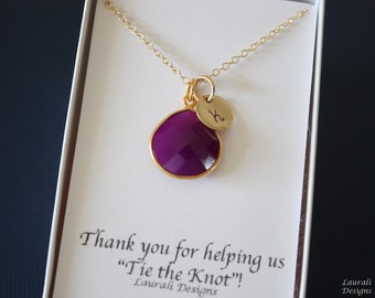 5 Initial Bridesmaid Necklace Plum, Bridesmaid Gift, Purple Gemstone, Gold, Monogram Jewelry, Personalized, Purple Gemstone Charm