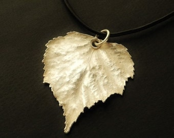 Silver birch leaf necklace - Silver necklace - Jewelry gifts