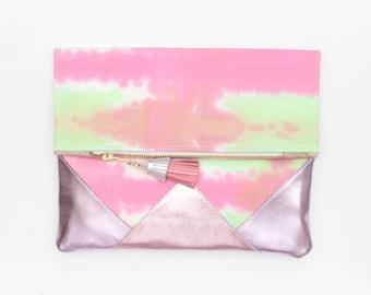 Dyed cotton clutch bag. Fold over clutch. Leather handbag. Geometric purse. Hand colored. Metallic leather. Colorful handbag. /FESTIVE 19