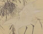Reserved for Michaela; Antique Japanese Fine Art Wall Hanging Scroll Painting White Heron Kakejiku - 1605149