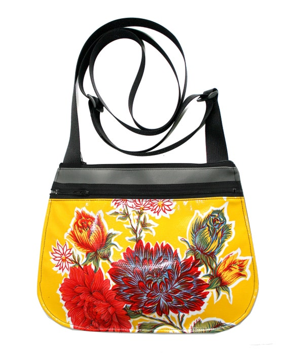 yellow, floral, oil cloth, cross body, vegan leather, zipper top