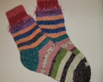 Hand Knitted Wool Socks -Colorful for Women - Size Large-US W 9-9,5,EU 41