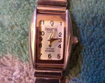 Manhattan Diamond  By Croton Gold Plated Ladies Watch Vintage Dust Proof Watch