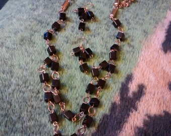 Onyx Cubes And Bronze Double Tier Chain With Earrings Set
