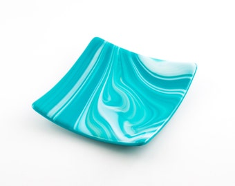 Fused Glass Dish, Turquoise Home Decor, Candle Plate, Trinket Tray, Decorative Accents, Catch All, , Unique Gifts for Women