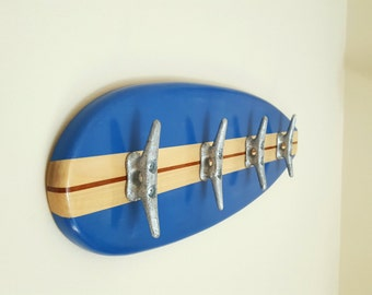 Surfboard towel coat hat rack for the beach house