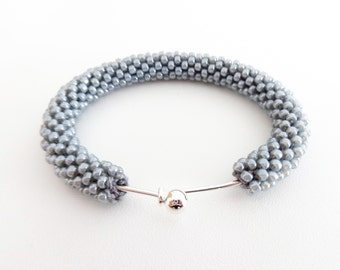 Silver Cuff Bracelet // Grey Bracelet // Christmas Gift // Crochet Rope Bracelet // Beaded Rope bracelet // Gift fo her //